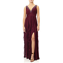 Buy Adrianna Papell Shirred Stretch Tulle Dress, Black Cherry Online at johnlewis.com