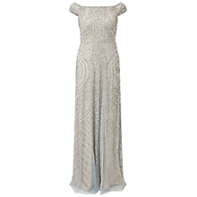 Buy Adrianna Papell Petite Off Shoulder Beaded Gown, Blue Heather/Silver Online at johnlewis.com