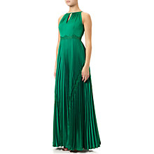 Buy Adrianna Papell Satin Chiffon Halter Lace Gown, Emerald Online at johnlewis.com