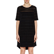 Buy French Connection Bernice Velvet Round Neck Tunic Dress, Black Online at johnlewis.com