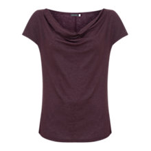 Buy Mint Velvet Shimmer Cowl Neck Linen T-Shirt, Dark Red Online at johnlewis.com