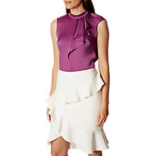 Buy Karen Millen Soft Ruffle Collection Blouse, Purple Online at johnlewis.com