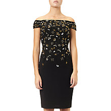 Buy Adrianna Papell Beaded Off-Shoulder Short Dress, Black/Gold Online at johnlewis.com