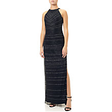 Buy Adrianna Papell Long Beaded Halter Neck Dress, Midnight Blue/Silver Online at johnlewis.com