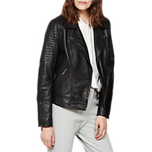 Buy Mint Velvet Washed Biker Jacket, Black Online at johnlewis.com