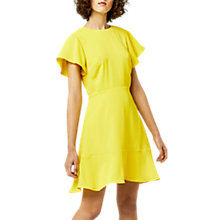 Buy Warehouse Flared Sleeve Skater Dress, Yellow Online at johnlewis.com