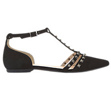 Buy Mint Velvet Julie Studded T-Bar Pumps, Black Online at johnlewis.com