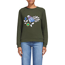 Buy Whistles Folk Embroidery Logo Sweatshirt, Khaki Online at johnlewis.com