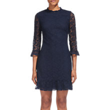 Buy Whistles Lace Hem Frill Shift Dress, Navy Online at johnlewis.com