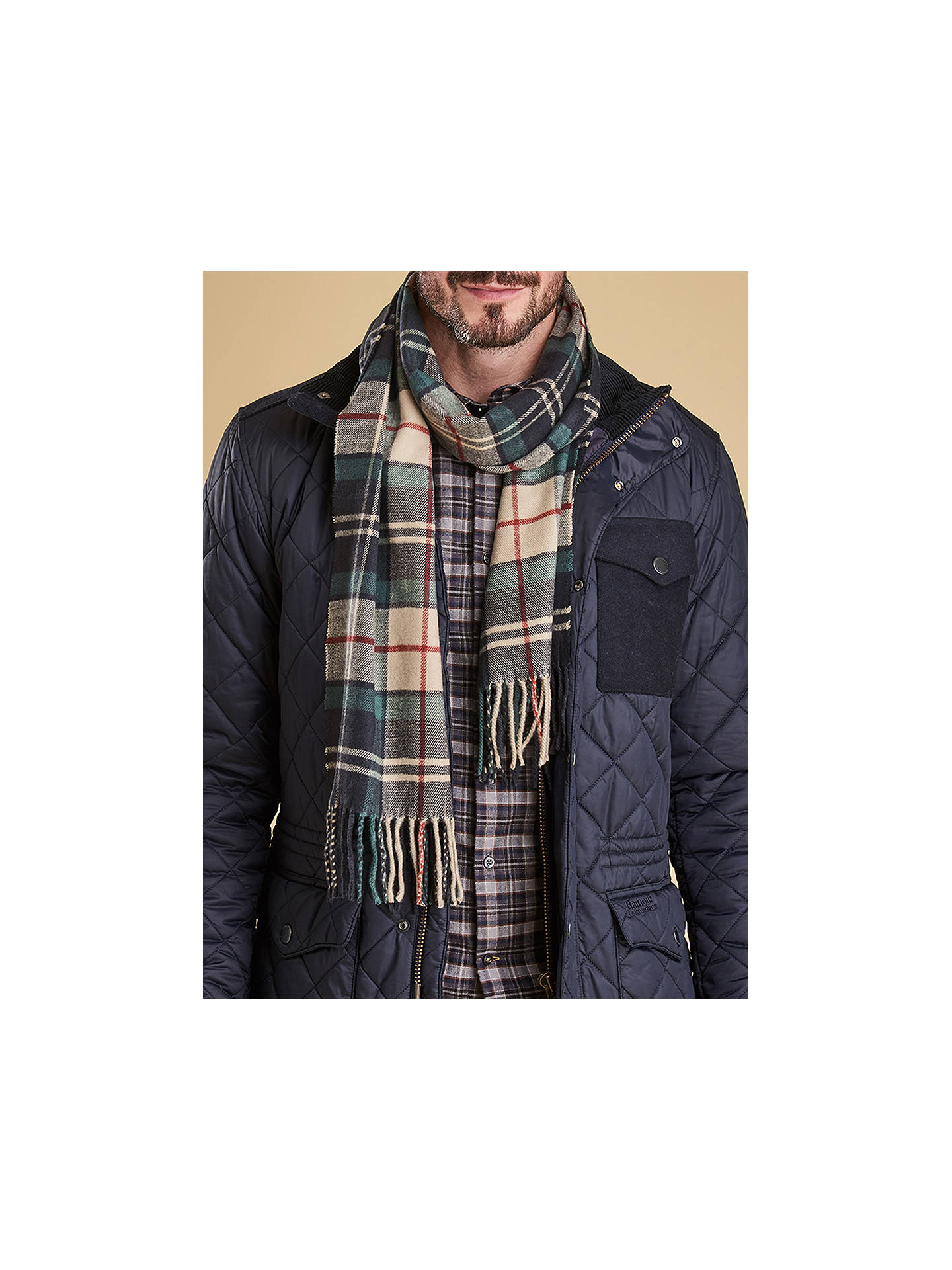 Buy Barbour Land Rover Defender Wool Check Scarf and Leather Glove Set, Brown, S/M Online at johnlewis.com
