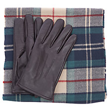Buy Barbour Land Rover Defender Wool Check Scarf and Leather Glove Set, Brown Online at johnlewis.com