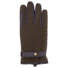 Buy Barbour Defender Wool Leather Gloves, Olive Online at johnlewis.com