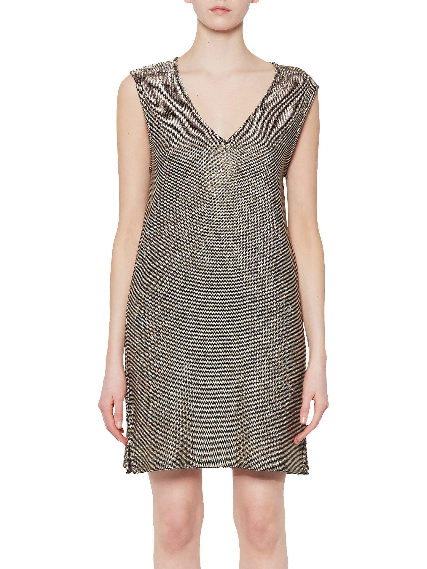 77d79a8a93d Buy French Connection Leah Metallic Jersey Tunic, Gold, 6 Online at  johnlewis.com ...