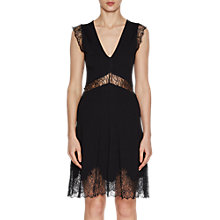 Buy French Connection Lora Beau Jersey V Neck Dress, Black Online at johnlewis.com