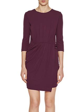 French Connection Elsa Drape Jersey Dress, Deepest Purple