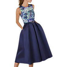 Buy Closet Gold Floral Lined Satin Dress, Navy/Multi Online at johnlewis.com