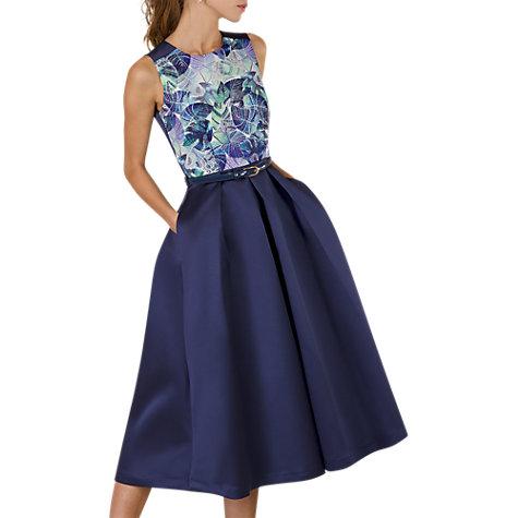 Buy Closet Gold Floral Lined Satin Dress, Navy/Multi Online At Johnlewis.com  ...