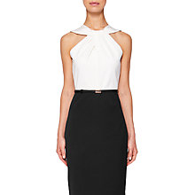 Buy Ted Baker Rayald Twist Neck Belted Pencil Dress, Black/White Online at johnlewis.com