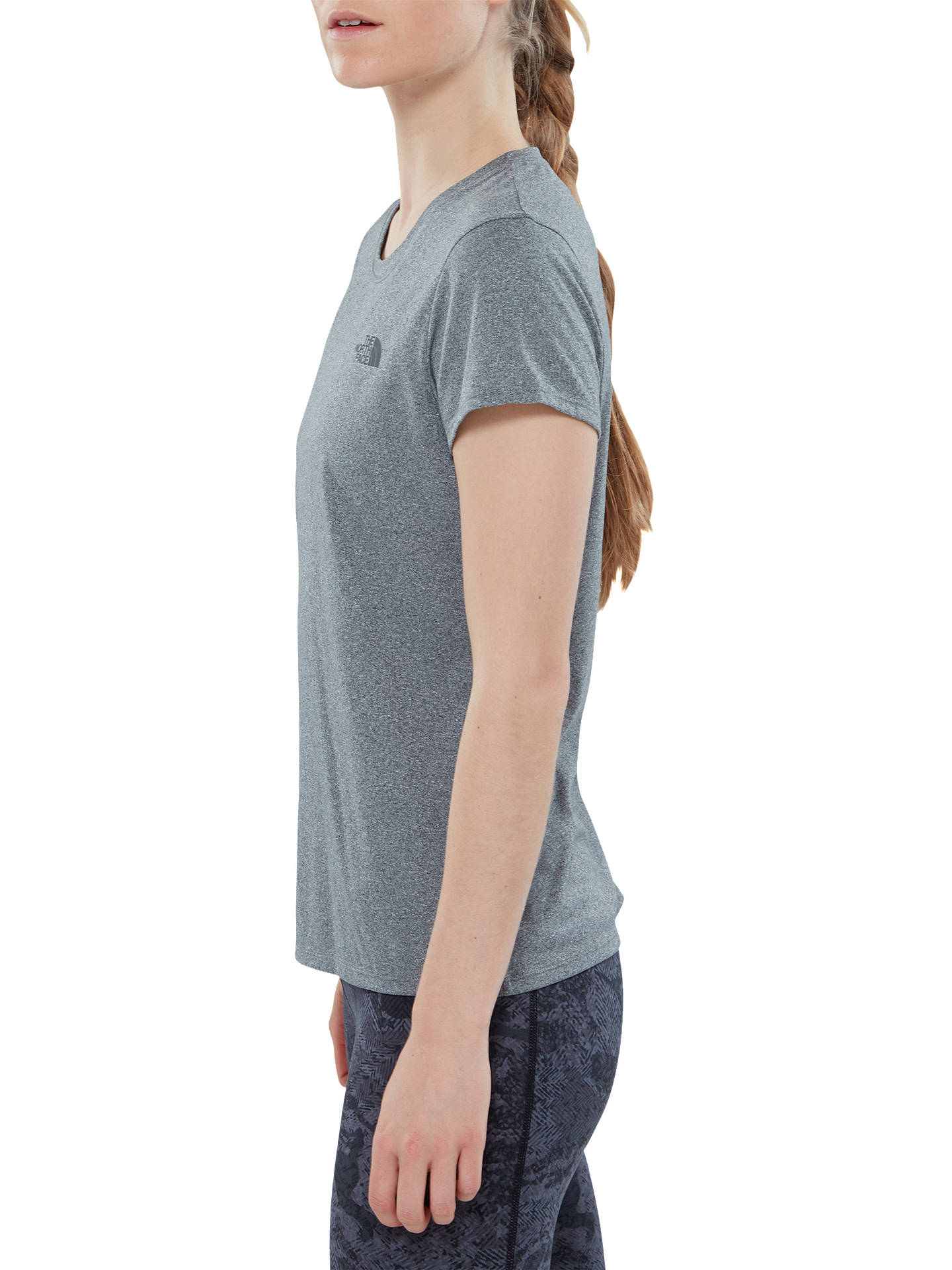 a1b3f381c6e5 The North Face Reaxion Amp Crew Neck Training T-Shirt, Grey at John ...