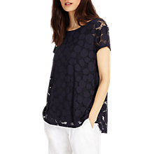 Buy Phase Eight Becky Burnout Top, Navy Online at johnlewis.com