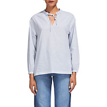 Buy Whistles Relaxed Stripe Tie Neck Blouse, Blue/White Online at johnlewis.com