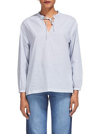 Whistles Relaxed Stripe Tie Neck Blouse, Blue/White