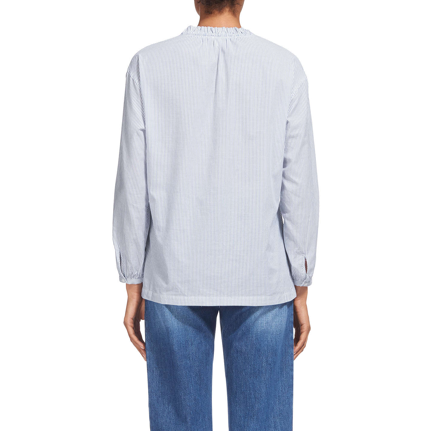 BuyWhistles Relaxed Stripe Tie Neck Blouse, Blue/White, 6 Online at johnlewis.com