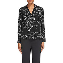 Buy Whistles Athena Silk Pyjama Shirt, Black/White Online at johnlewis.com