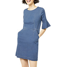 Buy Warehouse Denim Fit And Flare Dress, Mid Wash Denim Online at johnlewis.com