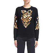 Buy Whistles Belize Floral Sweatshirt, Black Online at johnlewis.com