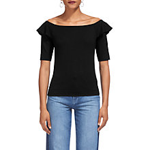 Buy Whistles Frill Shoulder Bardot Top, Black Online at johnlewis.com