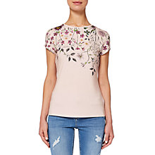 Buy Ted Baker Ebonie Unity Floral Fitted T-Shirt, Nude Pink Online at johnlewis.com