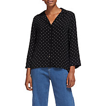 Buy Whistles Pyjama Print Spot Shirt, Black/White Online at johnlewis.com
