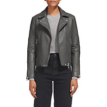 Buy Whistles Bella Quilted Detail Leather Jacket, Grey Online at johnlewis.com