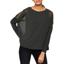 Buy Mint Velvet Sequin Sleeve Batwing Top, Dark Green Online at johnlewis.com