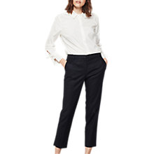 Buy Mint Velvet Stretched Cotton Cropped Trousers, Deep Blue Online at johnlewis.com