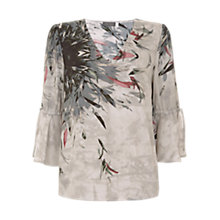 Buy Mint Velvet Teresa Print Tie Sleeve Blouse, Mink/Multi Online at johnlewis.com