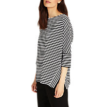 Buy Phase Eight Sati Stripe Ponte Top, Black/White Online at johnlewis.com