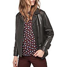 Buy Gerard Darel Ornella Leather Jacket, Black Online at johnlewis.com
