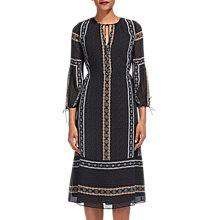 Buy Whistles Scarf Print Midi Dress, Black/Multi Online at johnlewis.com