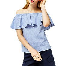 Buy Warehouse Bardot Ruffle Top, Light Blue Online at johnlewis.com
