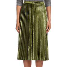 Buy Whistles Kitty Pleated Skirt, Metallic Khaki Online at johnlewis.com