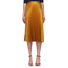 Buy Whistles Satin Pleated Skirt, Yellow Online at johnlewis.com