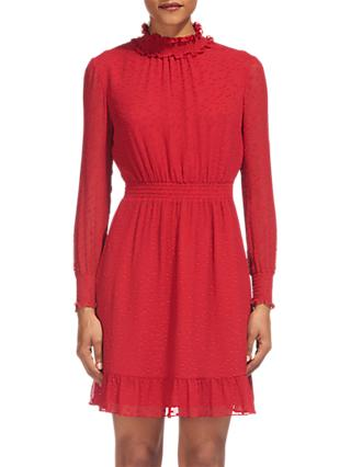 Whistles Ilona Dobby Frill Dress, Red