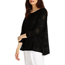 Buy Phase Eight Bertie Burnout Top, Black Online at johnlewis.com