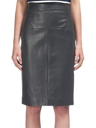 Whistles Kel Leather Pencil Skirt, Black
