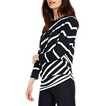 Buy Phase Eight Amy Asymmetric Striped Top, Navy/White Online at johnlewis.com