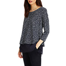 Buy Phase Eight Ciena Spot Double Layer Top, Navy/Ivory Online at johnlewis.com