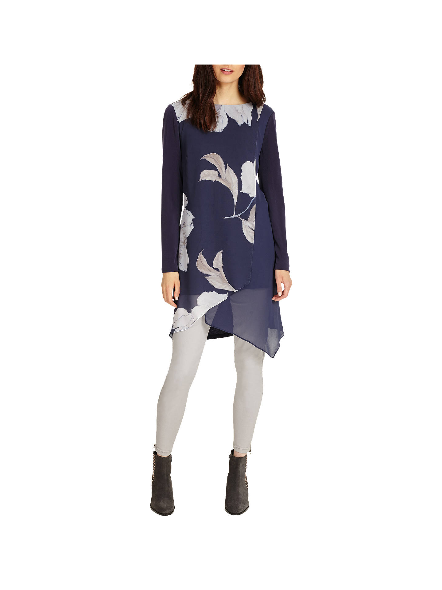 22379bfc748 ... Buy Phase Eight Vinny Floral Tunic, Navy, 8 Online at johnlewis.com ...