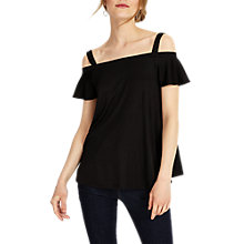 Buy Phase Eight Fiona Frill Bardot Top, Black Online at johnlewis.com
